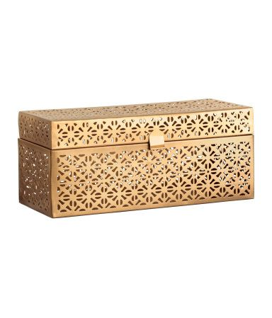 Rectangular box in metal with a cut-out pattern and a lid. Size 10.5x10.5x24 cm.
