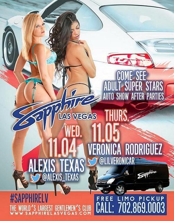 SEMA Week at Sapphire Las Vegas – Adult Super Star Alexis Texas to Host on Nov. 4; Veronica Rodriguez Nov. 5