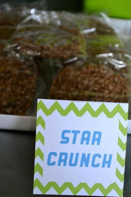 Star crunch snacks at an Outer Space Birthday Party!  See more party ideas at CatchMyParty.com!