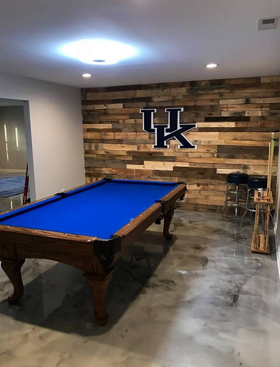 Beautiful Reclaimed Pallet Wood That Has Been Hand Selected And Prepared For Installation Each Fini Game Room Ideas Man Caves Pool Table Room Game Room Family