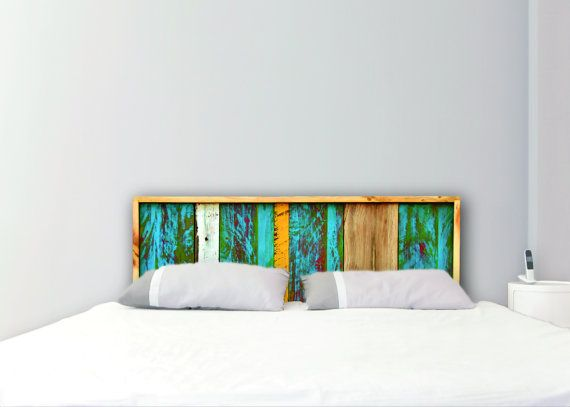Sale Painted Handmade Headboard Queen Blue Green Yellow On