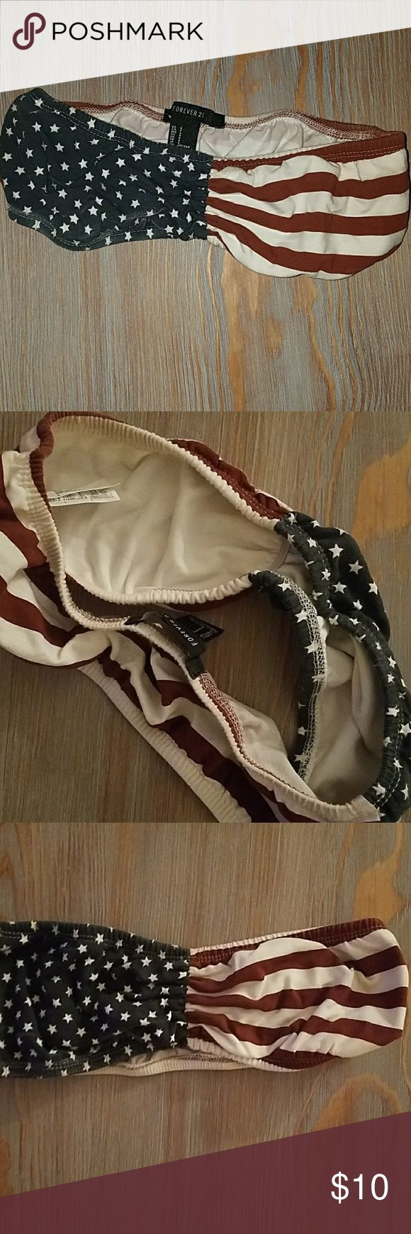 American Flag Bandeau Stretchy size small american flag bandeau. Super cute for fourth of july or country concerts. Like new condition. Im not sure if i have ever worn it maybe once. Forever 21 Intimates & Sleepwear Bandeaus
