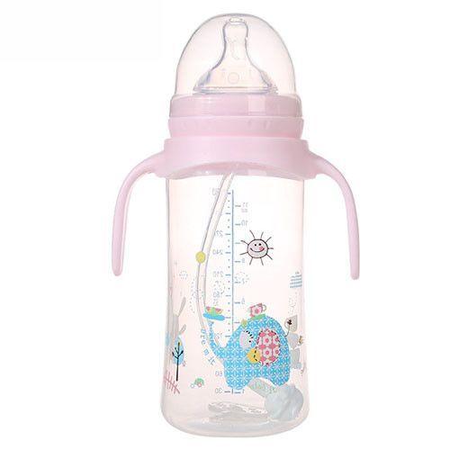 Cartoon Baby Bottle 330ML Newborn Infant Feeding Bottle Solid Silica Gel Thermos Bottle Baby Feeding Bpa Free Bottle with Handle
