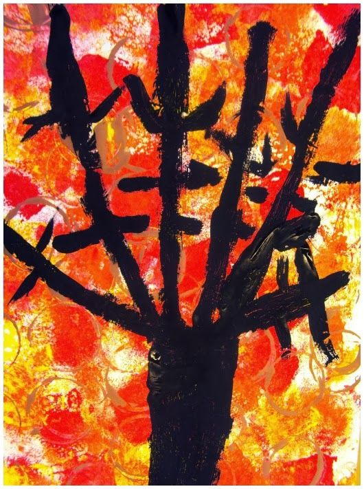 Plastiquem: ARBRE DE TARDOR Kindergarten/1st grade Autumn Trees sponge paint, print, paint art lesson idea project