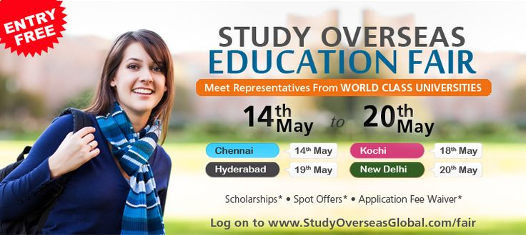 #StudyOverseas #EducationFair  Meet representatives from top Universities at Study Overseas Education fair to be held from 14th May, 2017 to 20th May, 2017 at various cities near you. Get a chance to get on the spot offers, scholarships and fee waivers. Register for free at: http://studyoverseasglobal.com/abroad-education-fair