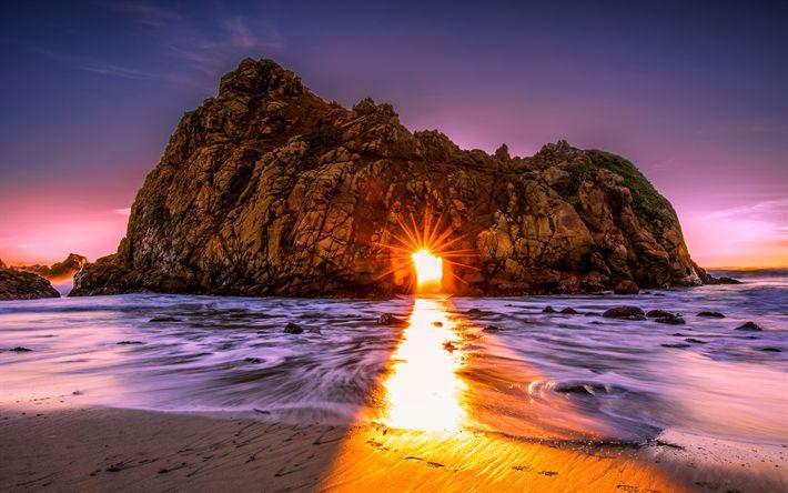 Télécharger fonds d'écran L'amérique, de l'océan, coucher de soleil, ock, falaise, les rayons du soleil, arc, états-unis