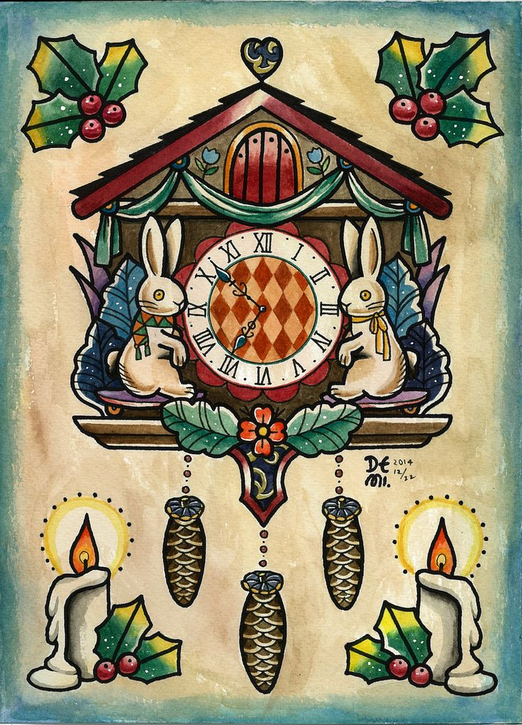 Original tattoo design by demi kukuclock water color tattoo sketch christmas cuckoo clock - Colorful cuckoo clock ...