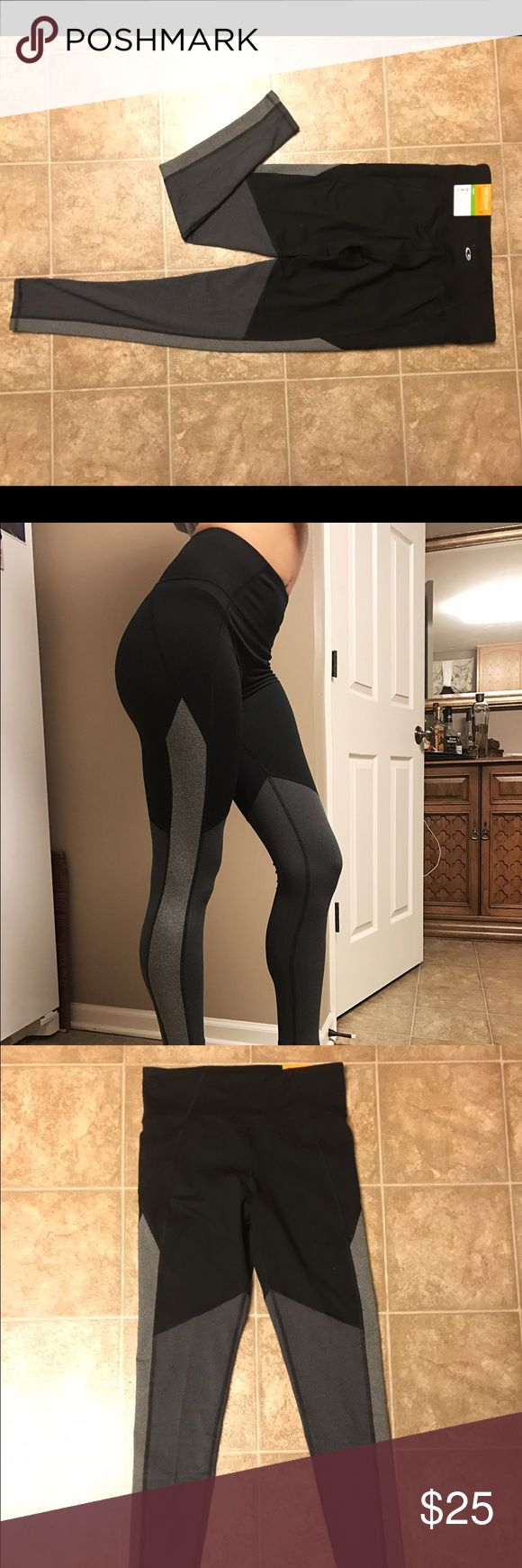 Black and gray athletic-type leggings Brand new, M, very durable high-waisted leggings ! Champion Pants Leggings