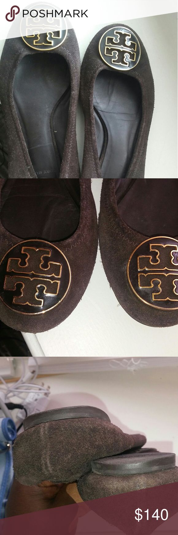 Beautiful Suede Brown Tory Burch Flats