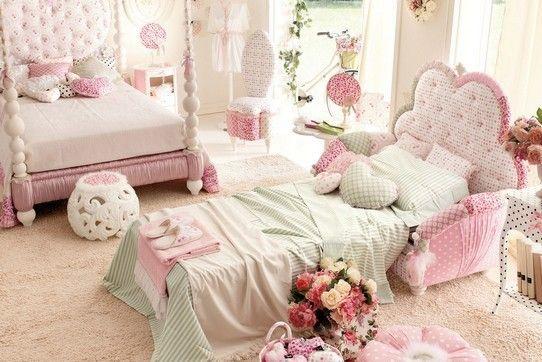 Cuarto ambientado para dos hermanas cama de palacio y cama - Polveros en dos hermanas ...