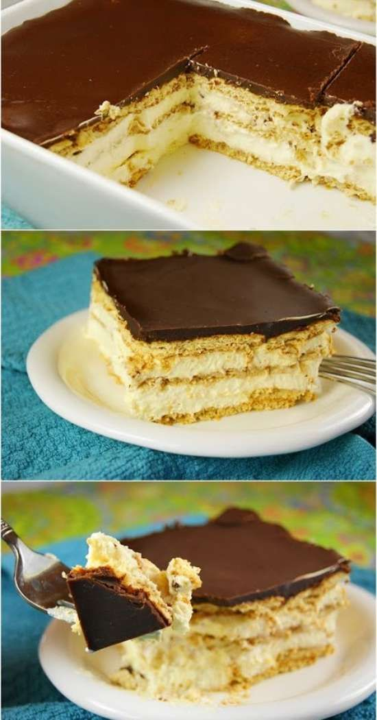 No Bake Eclair Cake - cake, cracker, dessert, milk, pudding, recipes, vanilla
