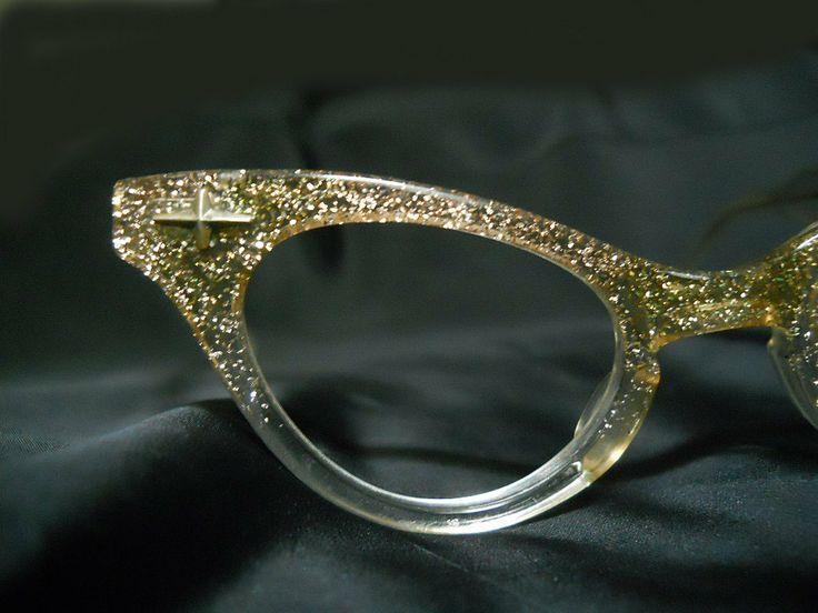 Gold Glitter Glasses Frames : Vintage Cat Eye Glasses - 1950s Lucite Cateye Glasses ...