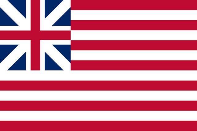 Первый флаг тринадцати восставших американских колоний имел тринадцать полос и британский флаг Юнион Джек в углу
