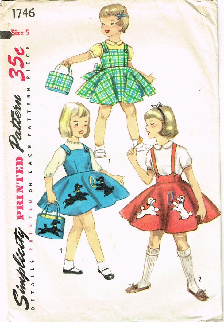1950s Vintage Simplicity Sewing Pattern 1746 Uncut Toddler Girls Poodle Skirt 5