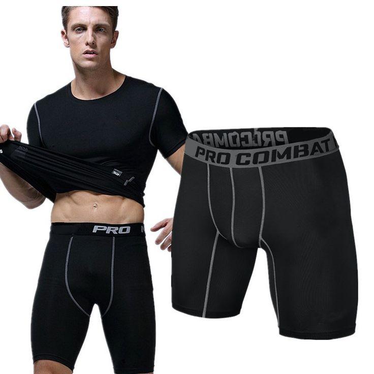 Pantalones cortos deportivos PRO Corta Hombres Corriendo pantalones Deportivos de compresión Culturismo Polainas de los hombres pantalones cortos de Combate de Entrenamiento En Seco
