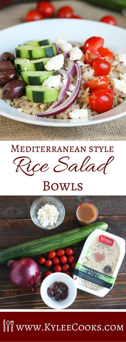 Delicious rice, tossed with a vinaigrette and topped with vegetables, these Mediterranean Style Rice Salad Bowls are a great make-ahead dinner, lunch or side!  @veeteeusa #ad via @kyleecooks
