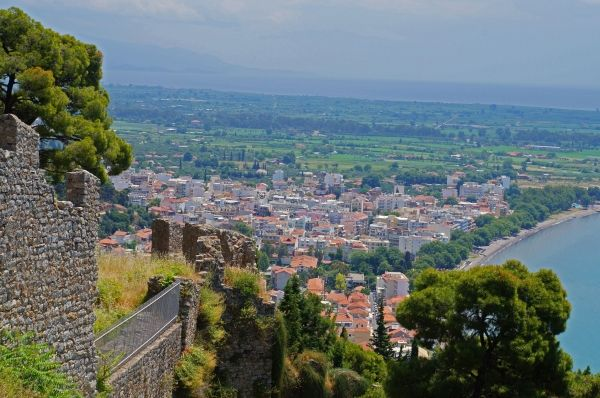 View from the Venetian Castle to the town of Nafpaktos
