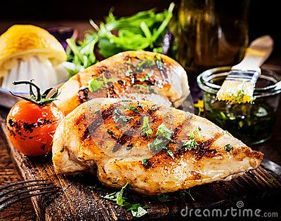 Stock Photo about Marinated grilled healthy chicken breasts