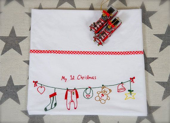 First Christmas baby linen sheethand by babysdreamfairytales