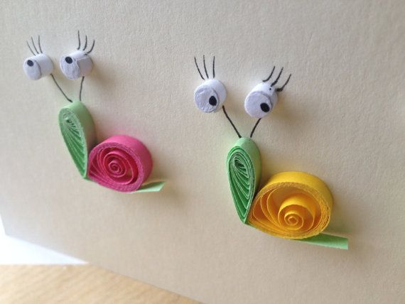 Snails card quilled art greeting card blank card by ElPetitTaller