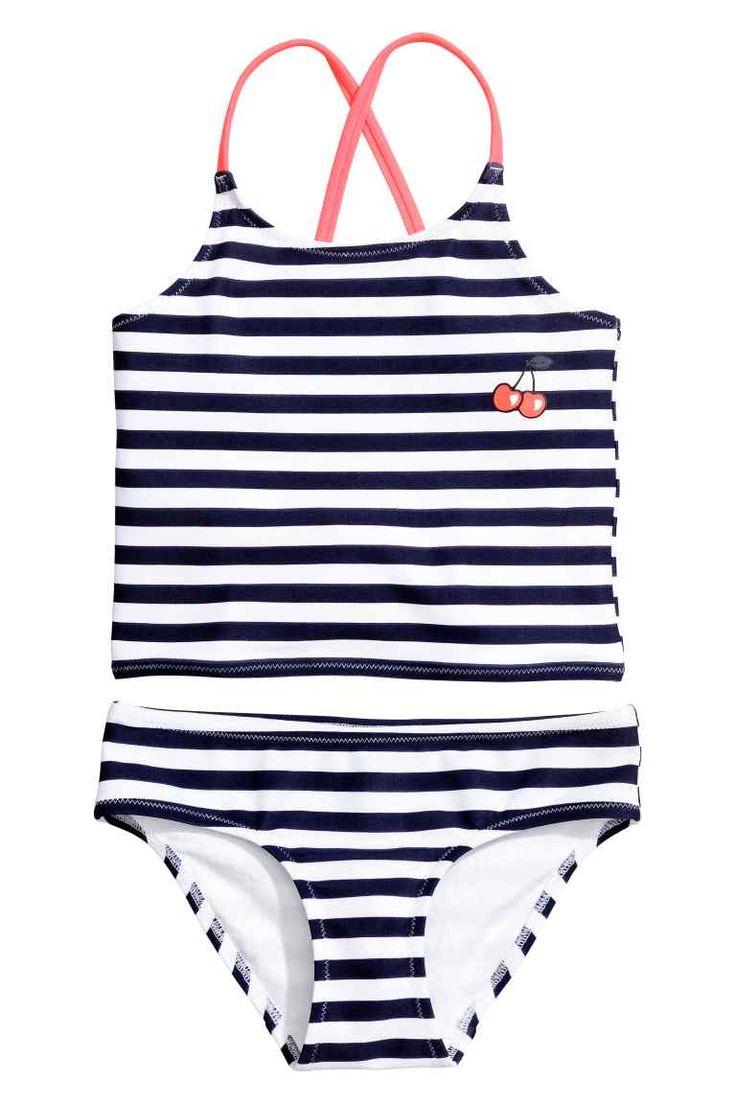 Gestreepte bikini - Donkerblauw/wit gestreept - KINDEREN | H&M NL 1
