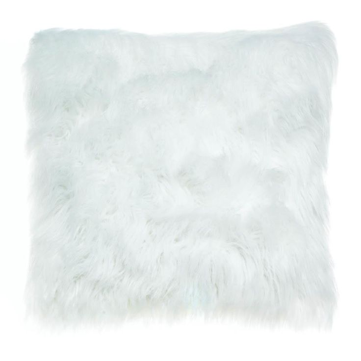 Rest in comfort and luxury! This beautiful white faux fur throw pillow features a heavenly soft texture that looks as great as it feels. Perfect for your couch or bed! Material(s):POLYESTER ACRYLIC 16