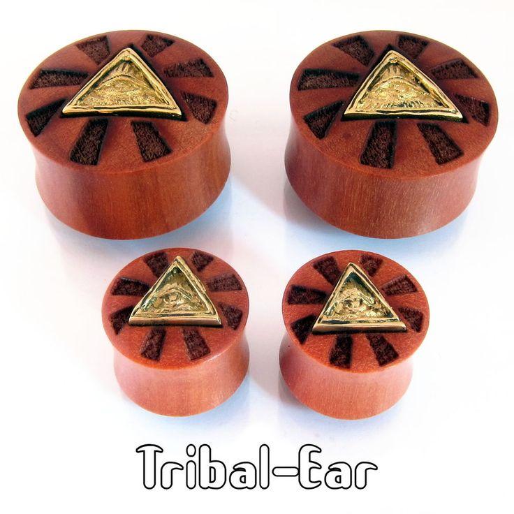 Tribal Ear Plug Wood and Brass Illuminati Piercing Oreille Flesh Tunnels Plugs