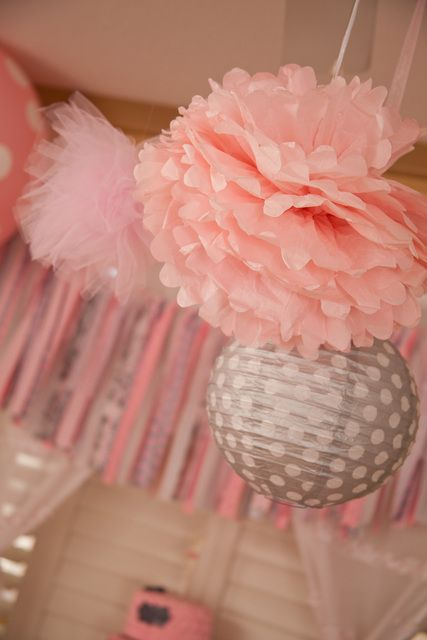 Pretty decorations at a Ballerina Girl Birthday Party!  See more party ideas at CatchMyParty.com!