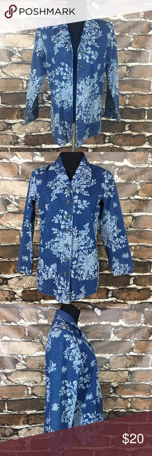 Denim & Co Floral Print Jacket Women's jacket by Denim & Co from QVC. Blue denim with floral print. Button front. Two front pockets. Long sleeves. QVC item number A33812. Women's size XS.  100% cotton.  No rips, tears, stains, or flaws. From a smoke free home.  B010 Denim & Co Jackets & Coats Jean Jackets