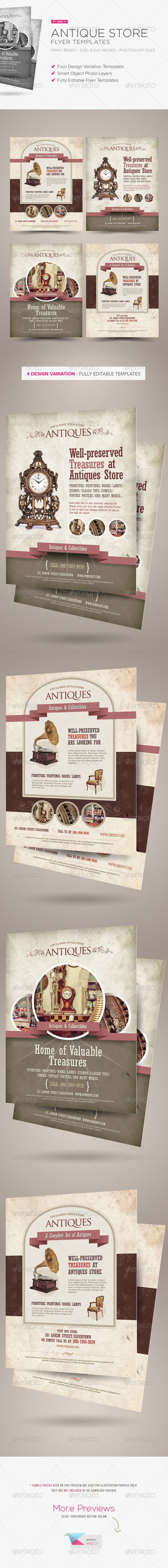 Antique Store Flyer Templates  #rare #retail #vintage • Click here to download ! http://graphicriver.net/item/antique-store-flyer-templates/6524288?s_rank=447&ref=pxcr