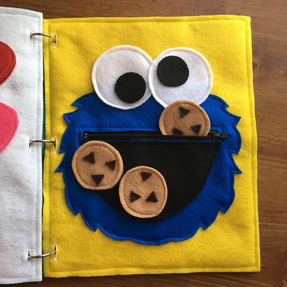Monster-Cookies ruhig Buchseite, Filz, Reißverschluss Seiten, Reise-Aktivitäten für Kinder, Geschenke, Bücher, Kinderbücher, Kita, ThePinkPenguinShop