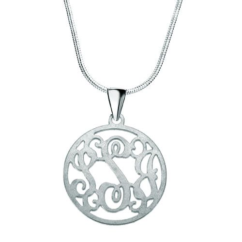 Monogram Necklace 925  Sterling Silver Hoop Custom Made Circle Initial Necklace Pugster.com