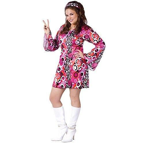 Retro Go-Go Dress 60s 70s Halloween Costume Womens US Plus (16W-20W)