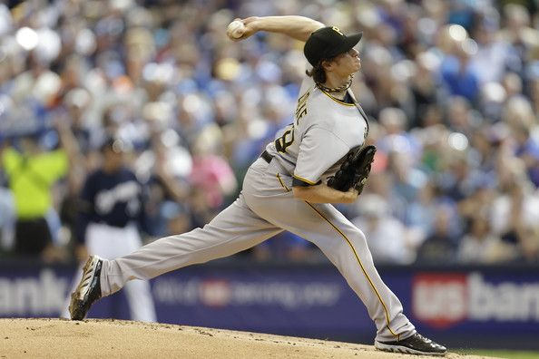 Jeff Locke #49 of the Pittsburgh Pirates pitches in the bottom of the first inning against the Milwaukee Brewers at Miller Park on May 25, 2013 in Milwaukee, Wisconsin.