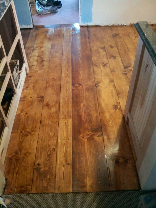 Waterlox Pine Plank Floor With 1 Coat Of Varathane