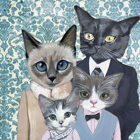 Love the family portraits! We have 3 of her cat prints in our office. Family Portrait I  Cats In Clothes  Fine Art by HeatherMattoonArt, $18.00