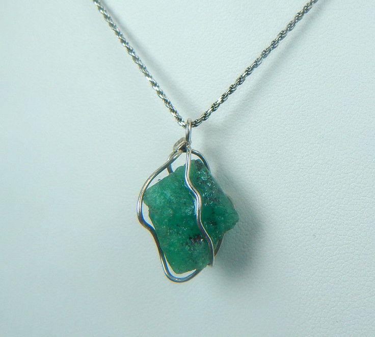 Colombian Emerald Natural Raw Crystal Pendant 10.12 Cts Silver 950 Muzo Mines #HandmadeByCeCi #Pendant