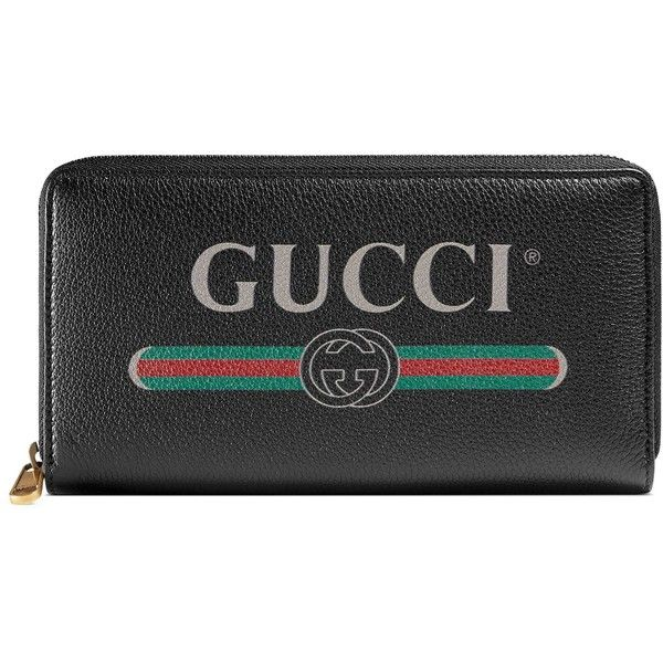 3cc99c9a6d Gucci Gucci Print Leather Zip Around Wallet ($815) ❤ liked on Polyvore  featuring bags, wallets, black, print bags, gucci, gucci bag, pattern  wallet and ...