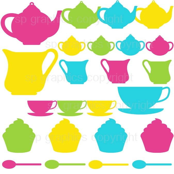 Tea Party silhouette clipart for cards, scrapbooking, invites, general craft work. $4.00, via Etsy.