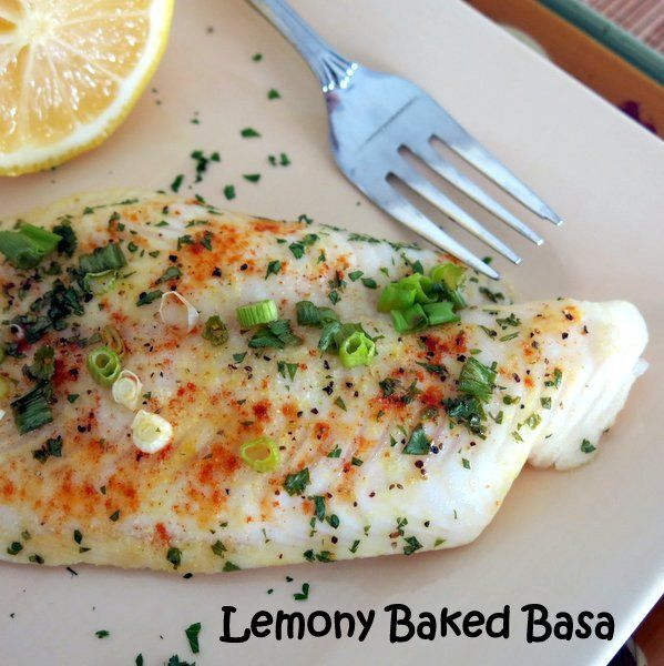 Lemony Baked Basa is quick and easy. Great flaked in salads and fish tacos too! #lowcarb #glutenfree
