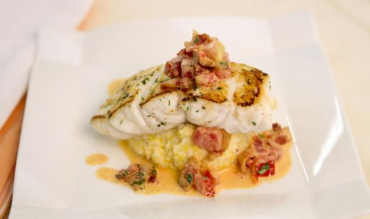 Pan Seared Florida Grouper with Smoked Gouda Grits and Tomato-Bacon Gravy / Entrees / Recipes / Home - Florida Department of Agriculture & Consumer Services