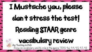 Vocabulary is the key to confidence and higher scores for students on standardized test. In this product I have taken the key terms from both the fourth grade TEKS and the released STAAR tests and given you a quick, hassle free way to help your students review the vocabulary they will see on the test. (scheduled via http://www.tailwindapp.com?utm_source=pinterest&utm_medium=twpin&utm_content=post64300998&utm_campaign=scheduler_attribution)
