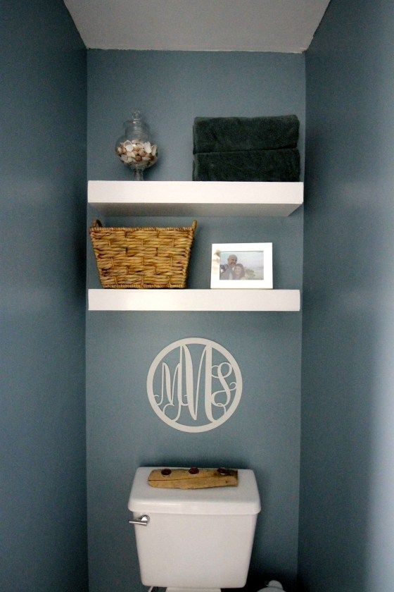 How to build and install floating shelves above a toilet – blue and white bathro…  – most beautiful shelves