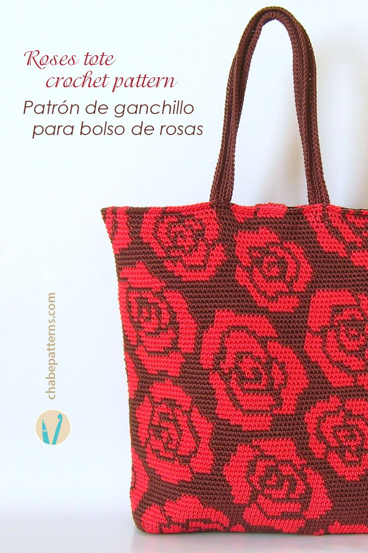Crochet pattern for roses tote, in tapestry crochet, chart with symbols, photo tutorial and written instructions/ Patrón de ganchillo para bolso de rosas, en tapestry crochet, esquema con símbolos, foto tutorial e instrucciones escritas by Chabepatterns