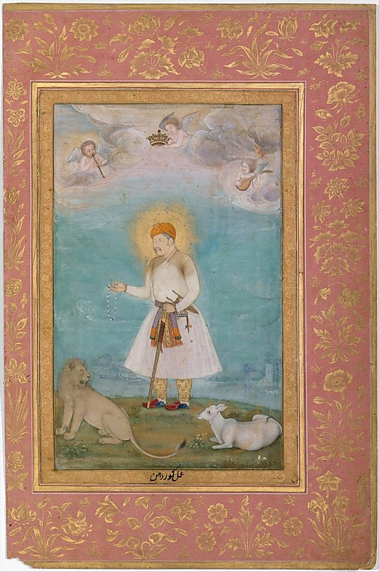 """Akbar With Lion and Calf"", Folio from the Shah Jahan Album Painting by Govardhan (active ca. 1596–1645)"