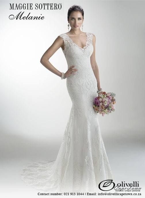 Delicate corded lace on tulle skims the shoulders and neckline of this lightweight gown while buttons trail a zipper closure accenting an illusion back. Offered with Monroe slip dress or slip dress with raised back. #OlivelliCT #MaggieSottero #WeddingGown