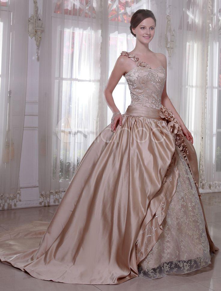Robe de mariée A-ligne champagne à traîne chapelle - Milanoo.com