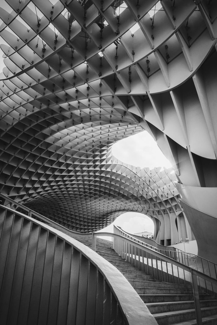 Geometric patterns in architecture with bold lines & undulating curves