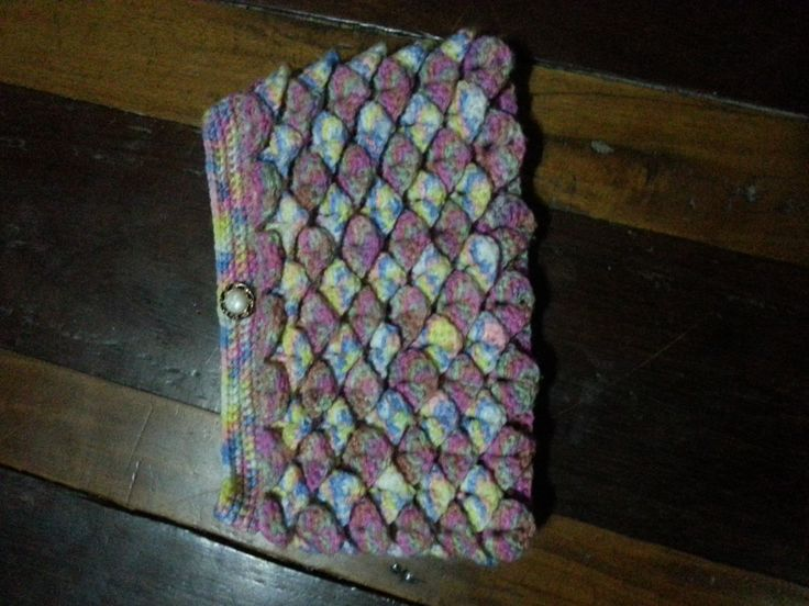 Crocodile scale crocheted clutch bag...