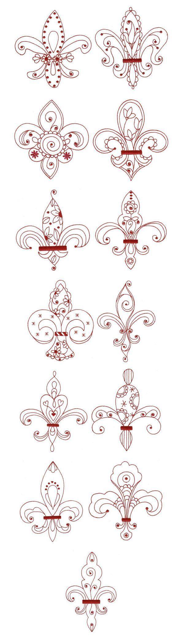 Embroidery   Redwork Machine Embroidery Designs   Fleur De Lis Redwork: